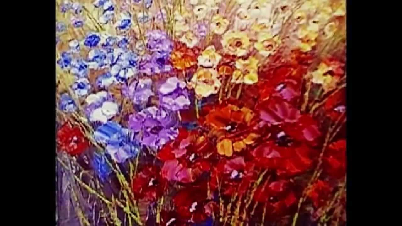 Paint flowers with palette knife techniques demonstration video by ...