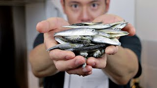 EATING WHOLE FISH - how to make Whitebait- Cooking with Chef Dai