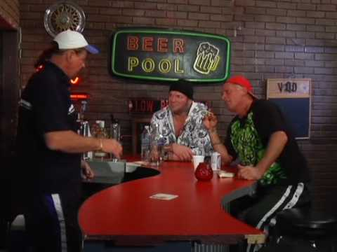 Terry Funk tells a story to Raven and Sandman