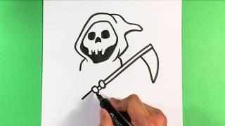 easy drawings halloween reaper grim draw