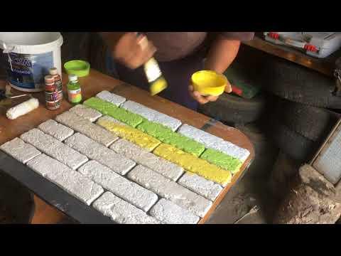 Покраска искусственного камня