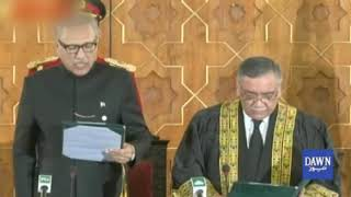President Arif Alvi administers oath to incoming Chief Justice of Pakistan, Asif Saeed Khan Khosa, at a ceremony in Aiwan-i-Sadr.