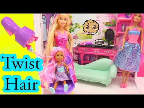 TWIST SNAP 'N STYLE 3 Princess Endless Hair Kingdom Mini Barbie Doll - Cookieswirlc Unboxing Video