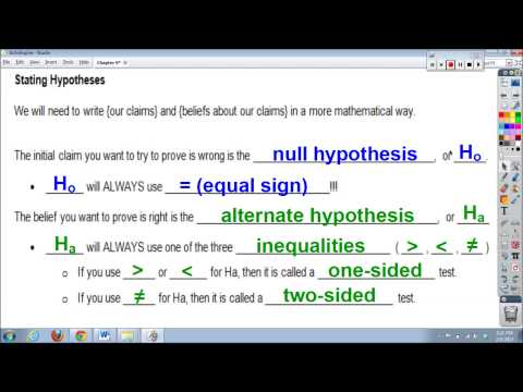 Chapter 9, Lesson #1 - Significance Tests & Stating Hypotheses