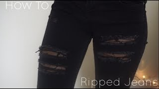 DIY | Distressed Ripped Black Jeans