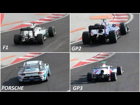F1 vs GP2 vs GP3 vs PORSCHE 2016 Turn different / SOUND HUNGARORING