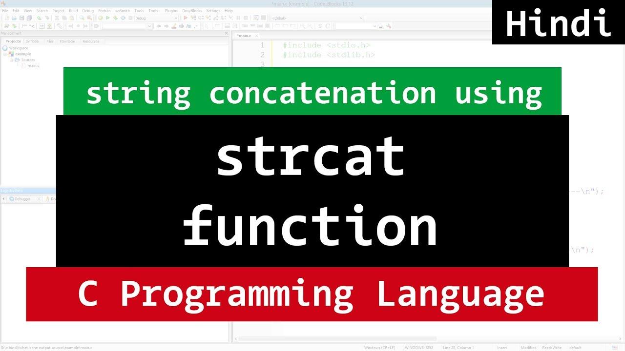 String Concatenation Function ( strcat ) in C Programming ...