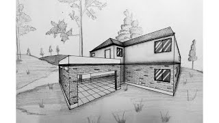 How to draw building in 2 point perspective / Pubg mobile squad house.