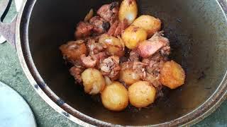 Блюдо в казане Картошка с мясом Простой вкусный рецепт