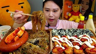잡채 킬바사소세지 미니돈까스 총각김치 주먹김밥 먹방 Mukbang