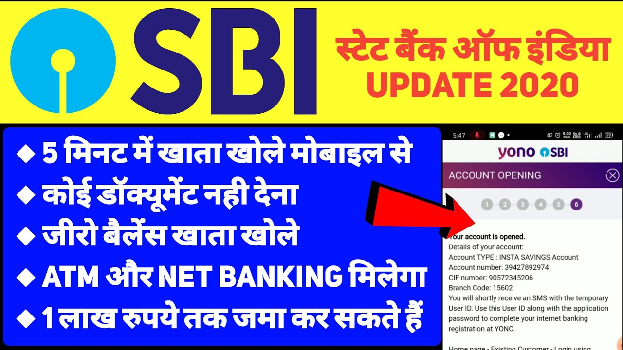 how to open sbi bank account with zero balance