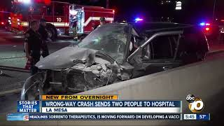 Wrong-way crash on I-8 sends 2 to hospital