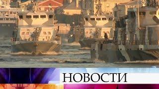 Репетиция парада ко дню ВМФ проходит в Санкт-Петербурге.