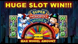 ★ HUGE WIN JACKPOT ★ WMS - Super Monopoly Money Slot Wheel Bonus Spins 5 CENT Machine