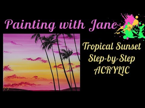 Tropical Sunset Step by Step Acrylic Painting on Canvas for Beginners