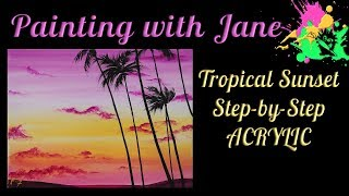 Video Tropical Sunset Step by Step Acrylic Painting on Canvas for Beginners download MP3, 3GP, MP4, WEBM, AVI, FLV Juni 2018