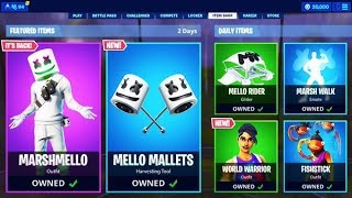 "NEW ""MARSHMELLO"" PICKAXE NOW! FORTNITE ITEM SHOP LIVE COUNTDOWN TODAY! Fortnite New Skins"