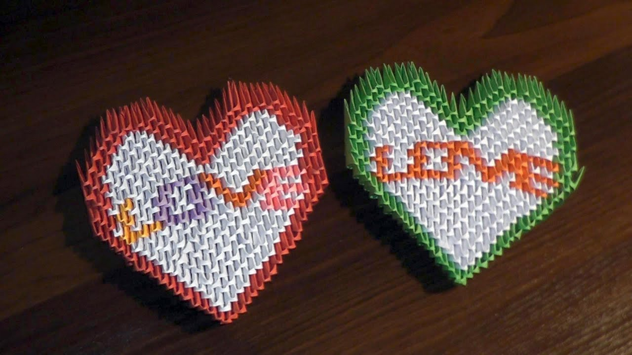 3d origami valentine heart with text love tutorial