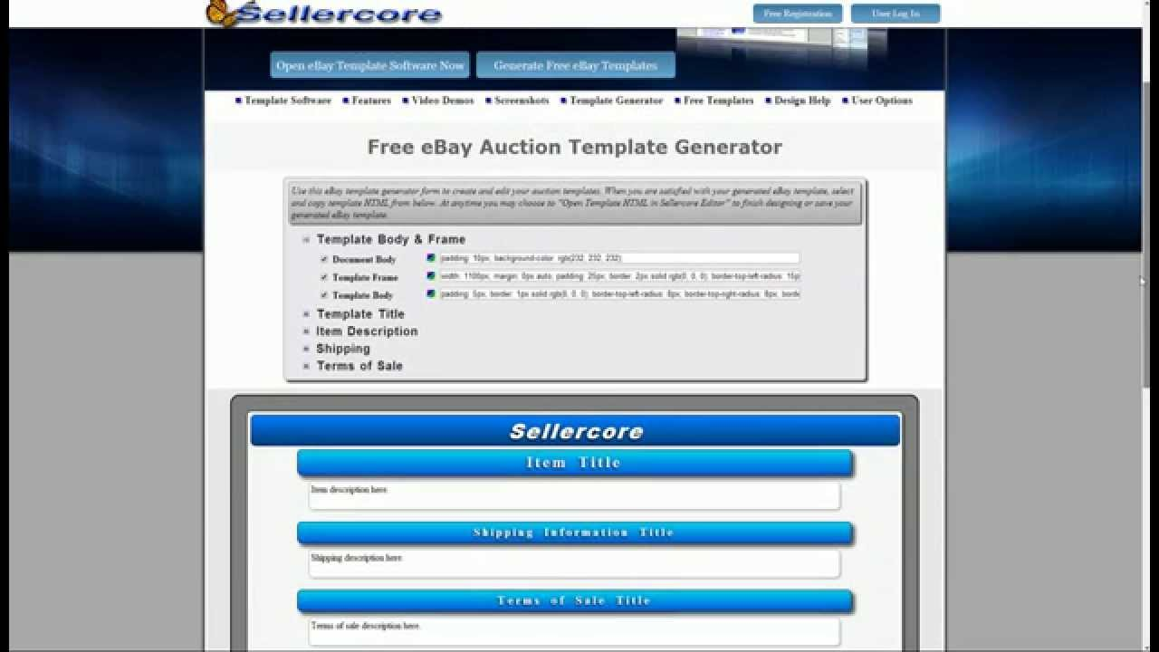 How to make money on ebay using free generator for html for Free ebay templates html download