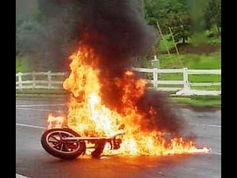 motorcycle fire pictures  Motorcycle catches on fire. - YouTube