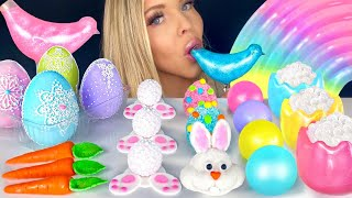 ASMR EDIBLE GLITTER DRINK, BUNNY TAILS, BIRD GLASS, EASTER EGGS, CARROT CANDY MUKBANG 먹방 꿀벌