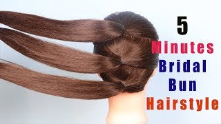 New easy wedding bun hairstyle - Hairstyle For Bridal 2020 || trending hairstyles || messy bun