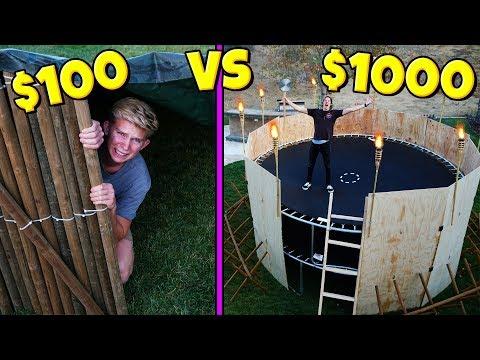 $100 VS $1,000 TRAMPOLINE TOWER APOCALYPSE SURVIVAL FORT!