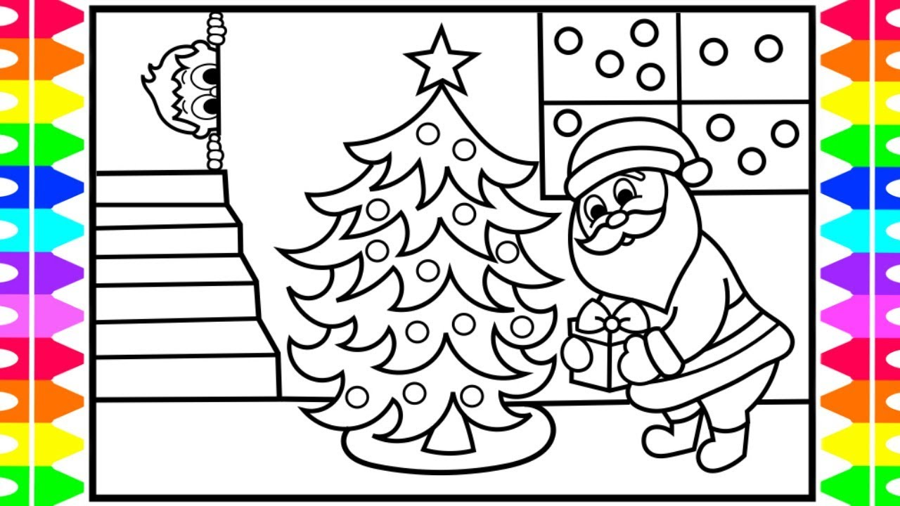 How to Draw Santa Putting Presents Under Tree | Santa Coloring Pages ...