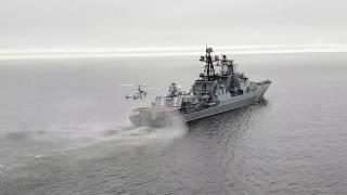 Учение по противолодочной обороне с кораблями Северного флота в ходе маневров «Восток-2018»