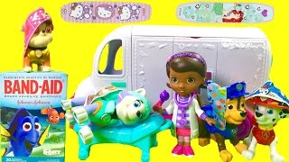 Paw Patrol Get Hurt on Playground & Doc McStuffin's Mobile Medical Clinic Brings Band Aids