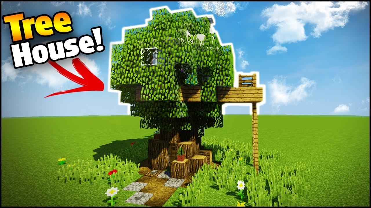 Minecraft Creative Tips Tricks: Minecraft: How To Build A Modern House Inside A Tree