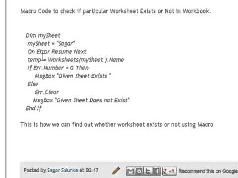 Check if worksheet exists using excel macro youtube check if worksheet exists using excel macro ibookread Read Online