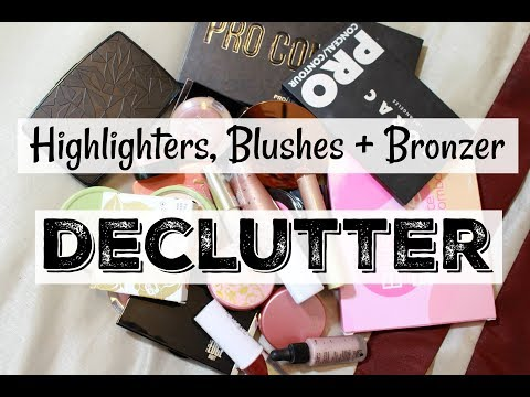 Makeup Declutter/Collection | Highlighters, Blushes, Bronzers, + Contours | Katie Marie