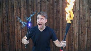 Taser + Flaming Baseball Bat - WILL IT JUGGLE?!