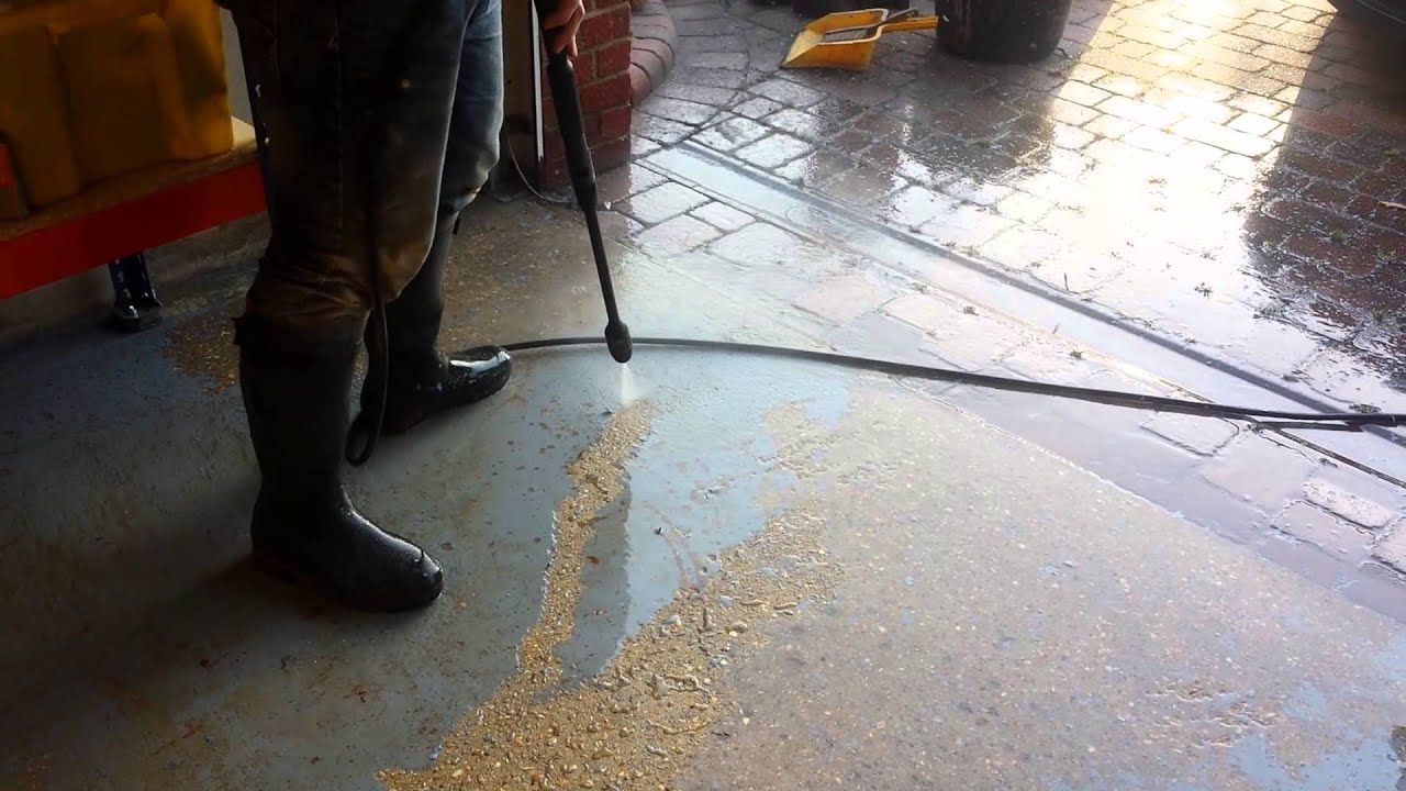 Pressure Washing Paint From Garage Floor Youtube