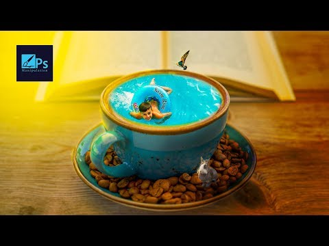 Swimming in Coffee Cup  Photoshop Tutorial  Manipulation Workflow thumbnail
