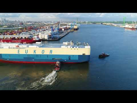 Drone Aerial View of Vehicle Carrier Morning Cecilie Leaving Port of Philadelphia