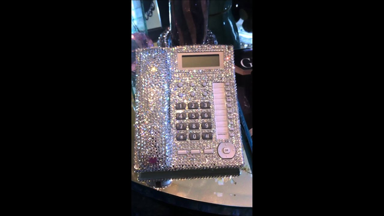 Bling like Khloe Kardashian Crystal Desk office home phone