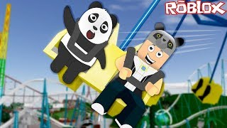 We boarded the Roller Coaster with Panda!! - ROBLOX Point Theme Park