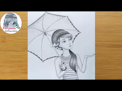 How to draw a girl with umbrella -  step by step / Pencil Sketch thumbnail