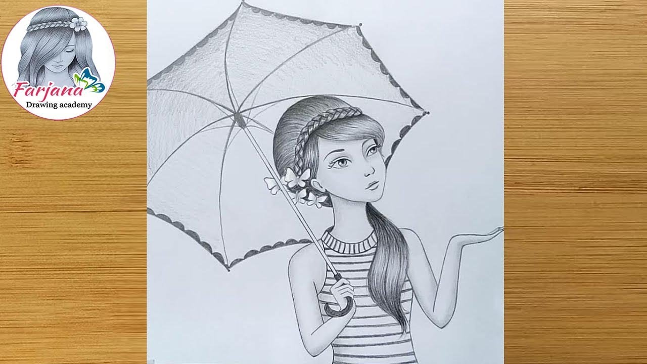 How to draw a girl with umbrella - step by step / Pencil ...