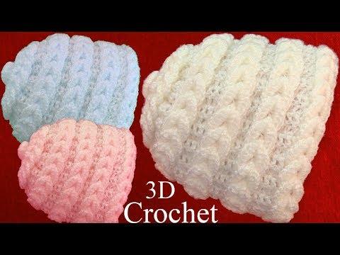 Gorro bufanda a Crochet punto en 3D argollas trenzadas tejido tallermanualperu