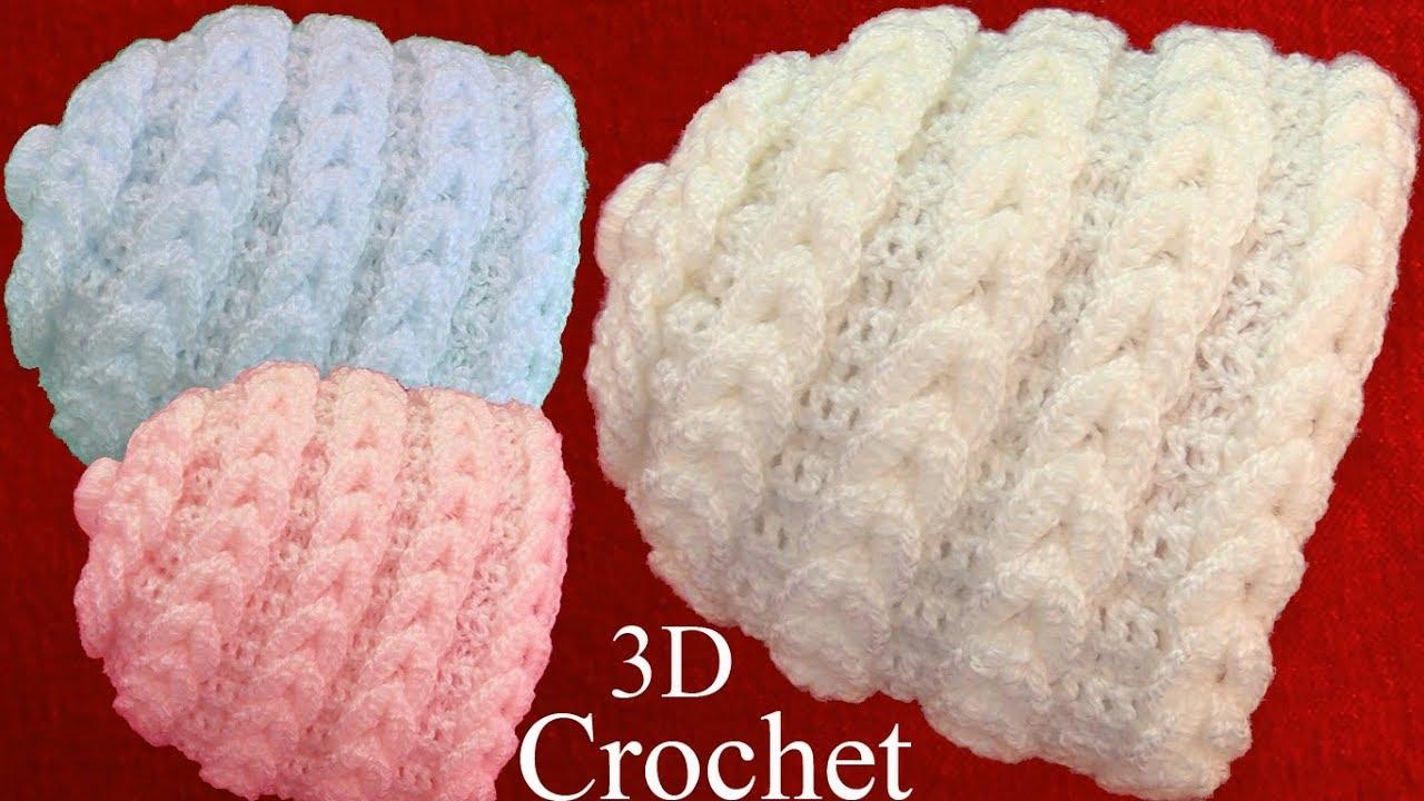 Gorro bufanda a Crochet punto en 3D argollas trenzadas tejido ...