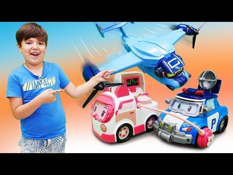 Машинки Робокар Поли ( Robocar Poli ) и самолет! Видео для детей, как самолет попал в грозу