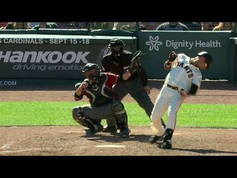 ARI@SF: Strikeout stands after a Giants' challenge