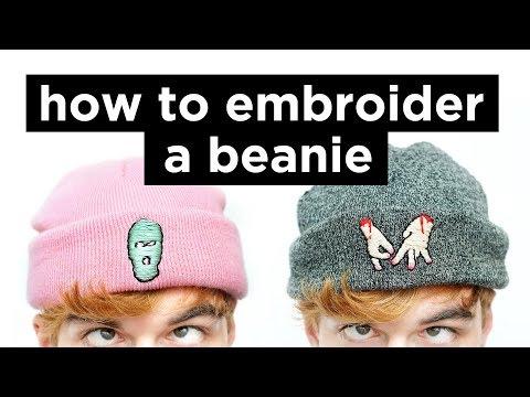 9bbb9cb043defa How To Embroider A Beanie | DIY Beanie Embrodery Tutorial | Dapper Alien -  YouTube