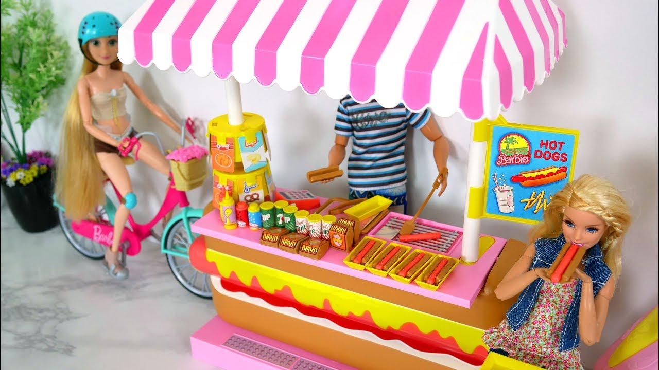 Babie Doll Hotdog Hot Dog Stand Toy Unboxing Review باربي