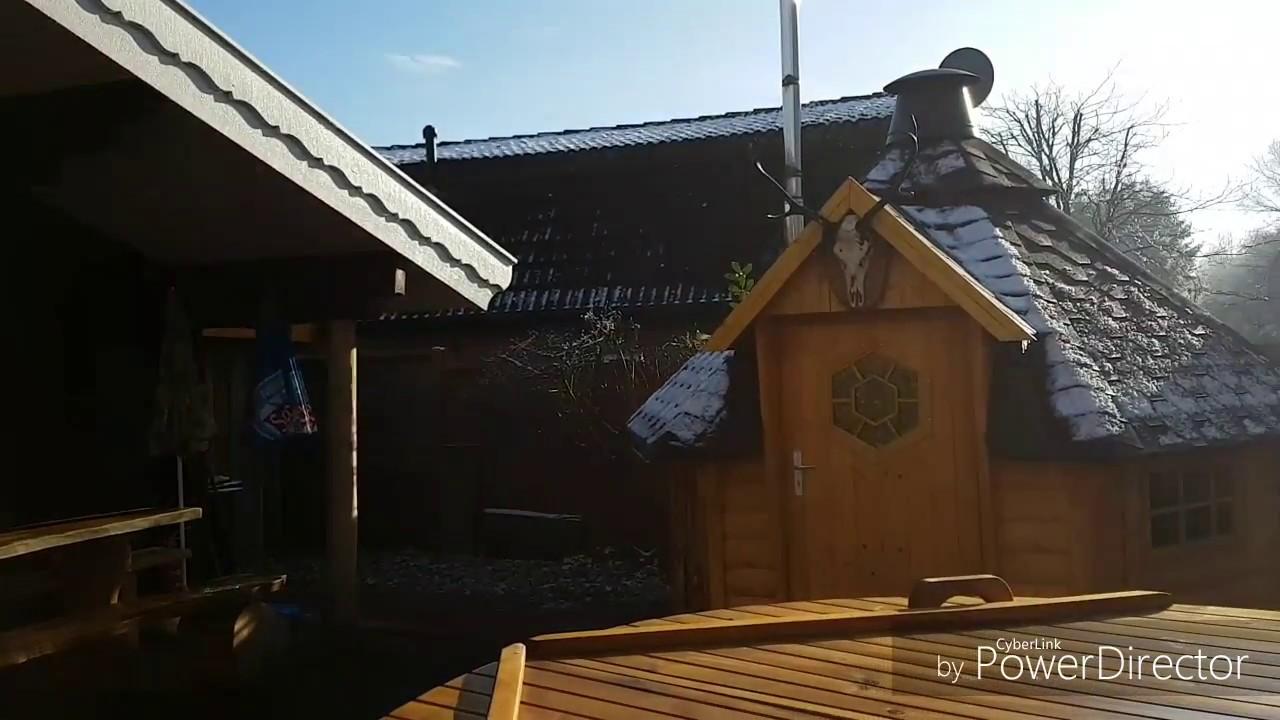 sauna mit badebottich und grillkota direkt an heede see mit ferienhaus emsland winter youtube. Black Bedroom Furniture Sets. Home Design Ideas