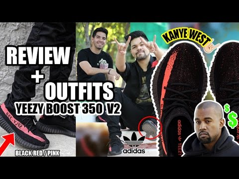 OUTFITS + REVIEW ADIDAS YEEZY BOOST 350 v2 BLACK RED/PINK - KANYE WEST
