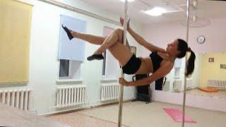 видео Школа танца на пилоне Колибри - пол денс трюки - связка средний уровень